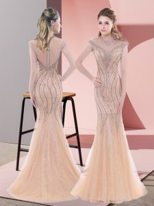 Noble Tulle Sleeveless Prom Dress Sweep Train and Beading