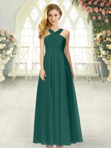 Gorgeous Floor Length Peacock Green Evening Dress Chiffon Sleeveless Ruching