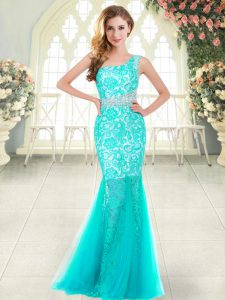Enchanting Aqua Blue One Shoulder Zipper Beading and Lace Homecoming Dress Sleeveless