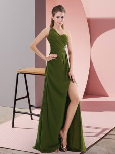 Fancy Floor Length Olive Green Prom Evening Gown Chiffon Sleeveless Beading