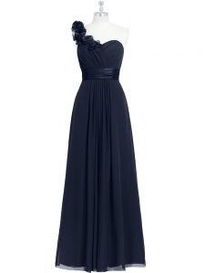 Floor Length Zipper Prom Dress Black for Prom and Party with Hand Made Flower