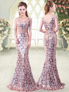 Exquisite Pink Sequined Zipper Prom Gown Sleeveless Floor Length Beading