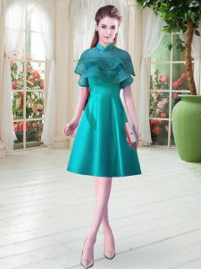 Custom Made Knee Length A-line Cap Sleeves Teal Prom Dresses Lace Up