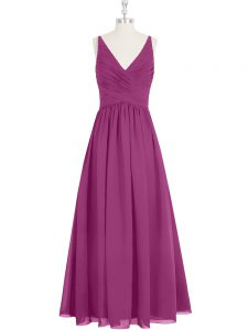 Attractive V-neck Sleeveless Zipper Prom Gown Fuchsia Chiffon