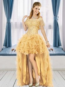 Graceful Gold A-line Off The Shoulder Short Sleeves Tulle High Low Lace Up Beading and Ruffles Prom Evening Gown