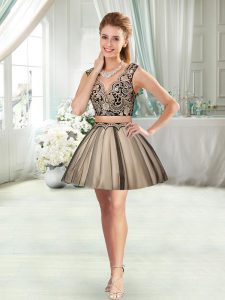 Adorable Sleeveless Mini Length Appliques Prom Dress with Black