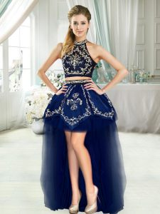 Noble Navy Blue Two Pieces Halter Top Sleeveless High Low Embroidery Prom Dress