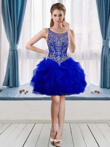 Mini Length Evening Dress Royal Blue for Prom and Party with Beading and Ruffles