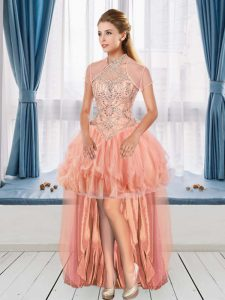 Sleeveless High Low Celeb Inspired Gowns in Peach with Beading
