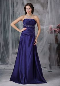 Strapless A-line Floor-length Purple Dress for Prom with Ruches and Beading