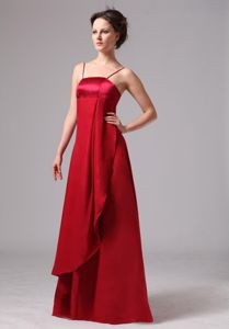 Wine Red Spaghetti Straps Empire Floor-length Prom Gown Dress in Bullard