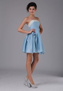 Taffeta Strapless Mini-length Dresses for Formal Prom in Blue with Ruching