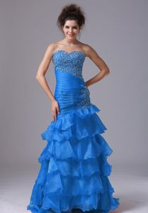Floor-length Mermaid Prom Dresses in Aqua Blue with Beading and Ruffles
