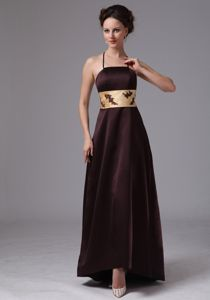 Halter Top Empire Floor-length Prom Gown in Brown with Sash in Dimmitt