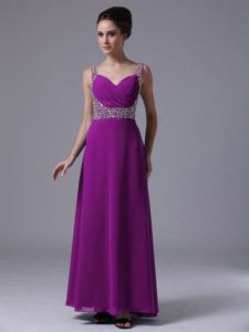 Best Purple Straps Column Prom Gown Dress in Floor-length with Beading