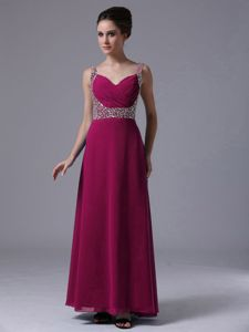 Straps Column Floor-length Prom Gown in Fuchsia with Beading in Bishop