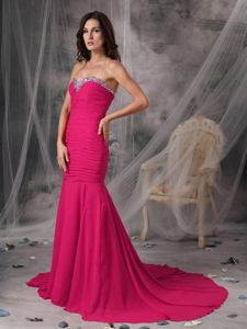 Ruched Sweetheart Mermaid Prom Gowns in Pink with Court Train in Alief