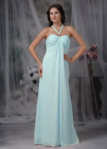 Halter Empire Light Blue Prom Gown Dresses in Floor-length in Cold Bay