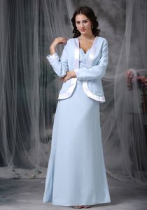 Square Floor-length Prom Dress in Light Blue with Short Sleeves in Gakona