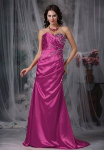 Fuchsia Beaded and Ruched Sweetheart Prom Gown Dress with Brush Train