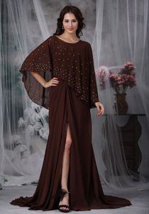 Hot Empire Sweetheart Brush Train Dress for Prom in Brown with High Slit