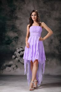 Lavender High-low Short Prom Gown Dresses with Ruches in Anchor Point
