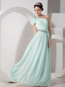 One Shoulder Floor-length Apple Green Prom Gown with Beading in Craig