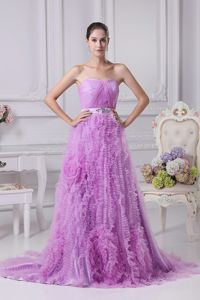 Lilac Strapless Brush Train Dress for Formal Prom with Ruches and Ruffles