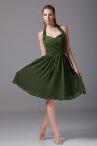 Halter Top Knee-length Prom Gown Dresses in Olive Green with Ruching