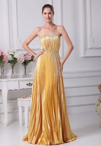 Yellow Pleated Strapless Floor-length Prom Gown with Ruches in Douglas