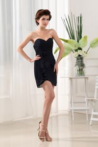 Black Sweetheart Mini-length Prom Gown Dress with Ruches in Girdwood