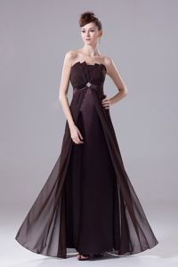 Brown Strapless Prom Gown Dress in Floor-length with Beading in Galena