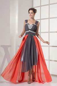 High-low Straps Multi-color Prom Dress with Beading and Ruching in Ester
