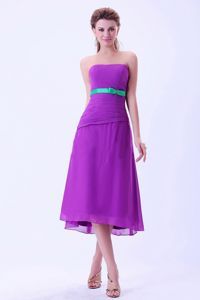 Purple Straps Chiffon Dress for Prom in Tea-length with Green Belt in Clay