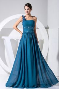 Chiffon One Shoulder Floor-length Teal Prom Gown with Beading in Delta