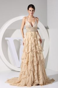 Straps Brush Train Prom Gown in Champagne with Embroidery and Ruffles