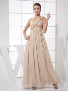 Champagne One Shoulder Ankle-length Prom Gown with Flowers in Centre