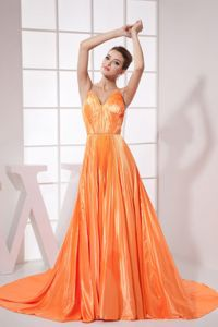 Pleated V-neck Orange Red Prom Dresses with Chapel Train in Bon Secour