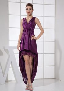 Purple V-neck High-low Prom Outfits with Ruching and Lace in Cottondale