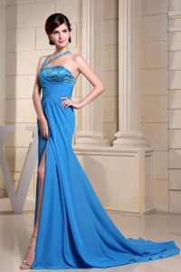 Blue Asymmetrical Neck Prom Gown Dress with Brush Train and Beading