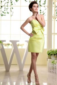 Strapless Mini-length Yellow Prom Gown Dresses with Bowknot in Foley