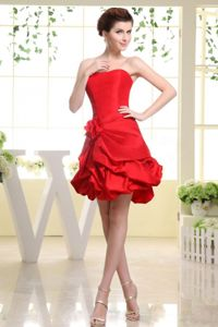 Red Strapless Mini-length Dress for Formal Prom with Flowers in Daviston