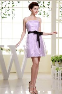 Cute Ruched Spaghetti Straps Lavender Short Prom Gowns with Black Sash