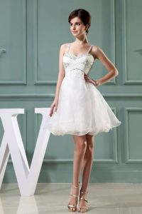 White Spaghetti Straps Mini-length Prom Attire with Beading and Ruching