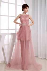 Beaded and Ruched Pink Prom Gown Dress with Court Train in Cherokee