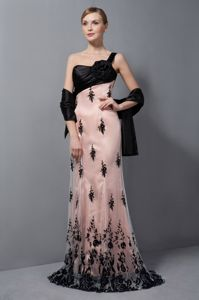 One Shoulder Black and Light Pink Prom Gown Dresses with Brush Train