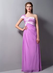 One Shoulder Floor-length Dresses for Prom in Light Purple with Beading