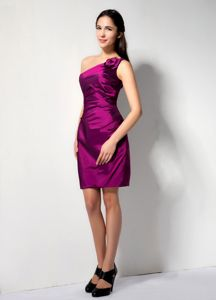 Special One Shoulder Prom Outfits with Ruching and Flowers in Fuchsia