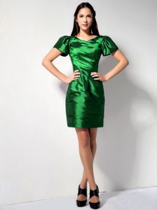 V-neck Short Sleeves Mini-length Sheath Prom Attires in Green in Granger