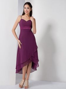 Dark Purple Spaghetti Straps Asymmetrical Prom Dress with Ruches in Lind